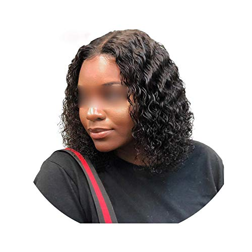- Carrie Deep Wave Lace Front Human Hair Short Bob Wigs With Baby Hair Brazilian Remy Kinky Curly Hair Frontal Wigs For Black Women,10Inches,130%