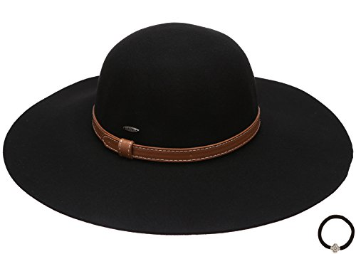Women's Crushable Pure Wool Wide Brim Floppy Fedora Hat with Hair Tie.(Band,Black)