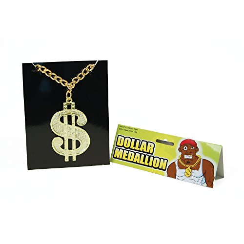 Bristol Novelty BA510 Dollar Medallion On Chain, One Size -