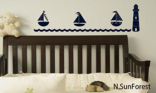 NSunForest-Nautical-Navy-Theme-Wall-Decal-with-Lighthouse-Sailboats-Boys-Room-Nursery-Baby-Room-Nautical-Decor-Wall-Art