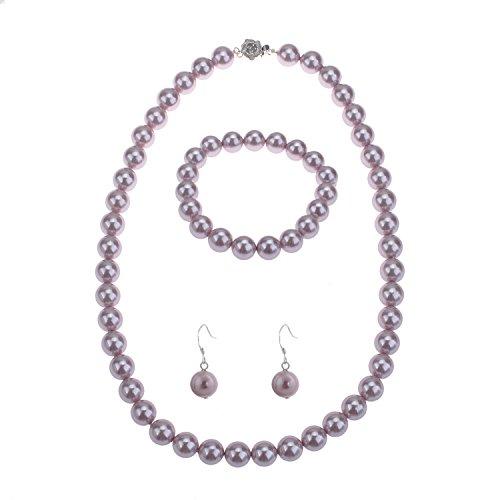 lureme Fashion Style Pearl Elastic Necklace Bracelet Dangle Earring (Purple Pearl Necklace Bracelet)