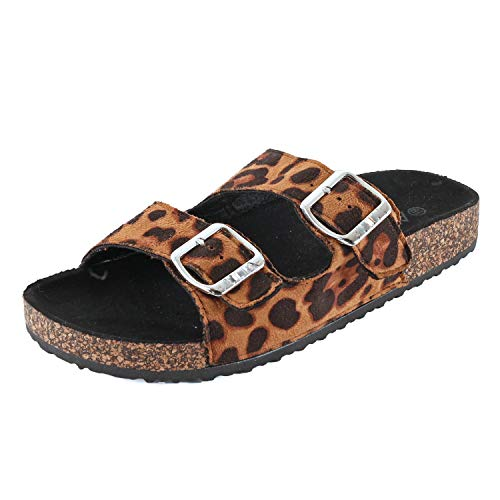 Leopard Thong Sandal - Guilty Shoes Womens Slippers Double Strap Easy Slip On Flip Flops Thong Casual Slides Sandals Flats (7 M US, Leopard)