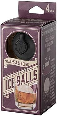 Moldes de duas polegadas Prepara – Pacote com 4 moldes de bola de gelo, 5 cm de diâmetro, claro/preto