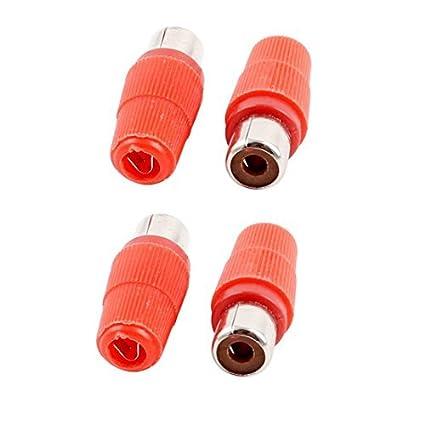 Amazon.com: eDealMax Mango de plástico Mujer RCA Phono Jack Conector Rojo 4pcs tono de Plata: Electronics