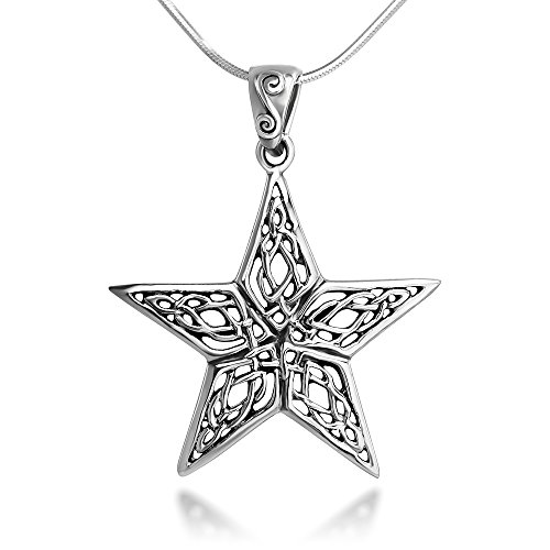 Sterling Silver 25 mm Open Celtic Knot Filigree Large Star Pendant Necklace 18