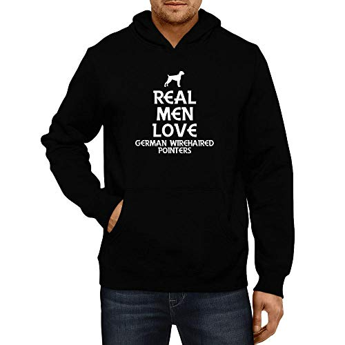 Idakoos Real Men Love German Wirehaired Pointers Silhouette Hoodie L Black