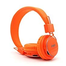 GranVela A809 Foldable Headphones Over Ear Stereo Comfort Headset New Fashionable Music Player,Micro SD Player ,3.5mm Detachable Audio Cable, Handsfree Headset, Earphone, Support TF Card, FM Radio, Can Be Connected to Computer, Notebook, Tablet PC, Mobile phone, MP3/MP4 (Does Not Contain Bluetooth)--Orange