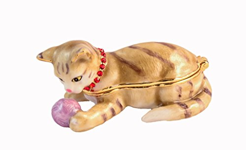 - Ciel Collectables 1013591 Cat Playing with Ball Jeweled Enamel Trinket Box, 2.50