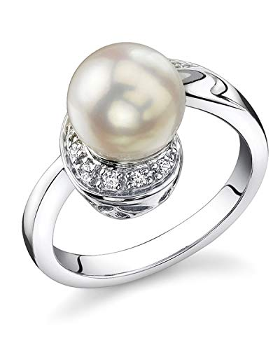 THE PEARL SOURCE 8-8.5mm Genuine White Japanese Akoya Saltwater Cultured Pearl Jessica Ring for Women