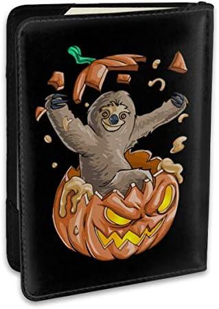 Sloth ナマケモノ カボチャ ハロウィン パスポートケース パスポートカバー メンズ レディース パスポートバッグ ポーチ 収納カバー PUレザー 多機能収納ポケット 収納抜群 携帯便利 海外旅行 出張 クレジットカード 大容量