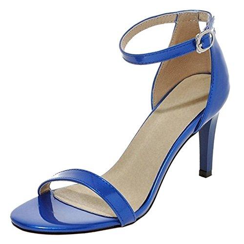 Lanières Femmes Talon Coolcept Boucle Soirée Cheville Fête Pointure Haut Bleu Sandales nqIAffxR