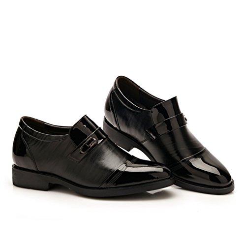 Feidaeu Hommes Mocassins Chaussure PU Vernis Jointif Hidden Wedge Pointu Loisir Fashion Mariage Délicat Derby Noir btpVKQ