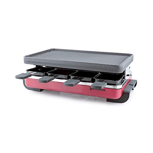 Swissmar KF-77046 Classic 8 Person Raclette with Reversible Cast Iron Gril Plate/Crepe Top, Red