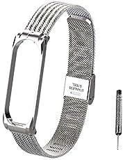 Hangrui Uhrenarmband für Xiaomi Mi Band 4/Mi Band 3, Armband Bracelet Schlankes Atmungsaktives Fitness Uhrenarmbänder Verstellbarer Wristband mit Metallschnalle für Mi Band 4/Mi Band 3