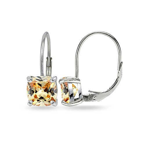 - Sterling Silver Champagne Cubic Zirconia Cushion-cut 7x7mm Leverback Earrings
