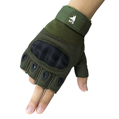 SFS Shooting Training Gloves,Army Military Hard Knuckle Tactical Combat Gloves Half Finger Riding Motorcycle Hunting Airsoft Gloves