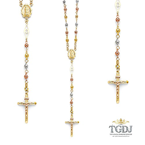14K Gold Tri-color, Yellow or White Gold Chain 4mm Cut-Out Bead Rosary Chain Necklace 26 inc by Top Gold & Diamond Jewelry