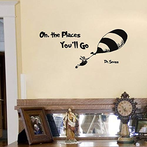 gafuen Wall Art Stickers Quotes and Sayings Oh The Places You'll Go Dr Seuss for Nursery Kids Room Boys Girls Room Home Decor