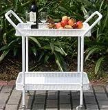 "Outdoor Bar Cart, Serving - 32"", Wicker, White"