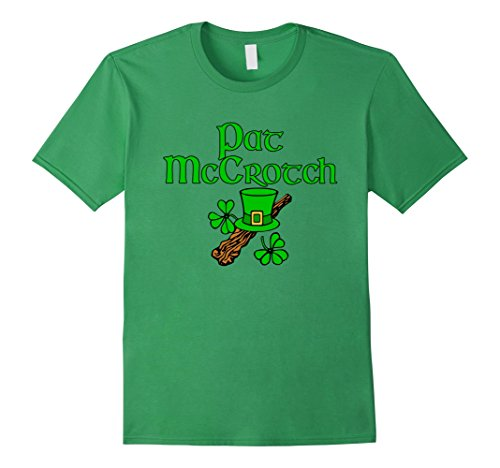 Men's Saint Pat McCrotch Funny Shamrocks St. Patrick's Day T Shirt 2XL Grass (St Pats T Shirts)