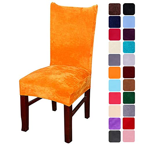 Delight Dining Chair - smiry Velvet Stretch Dining Room Chair Covers Soft Removable Dining Chair Slipcovers Set of 4, Orange