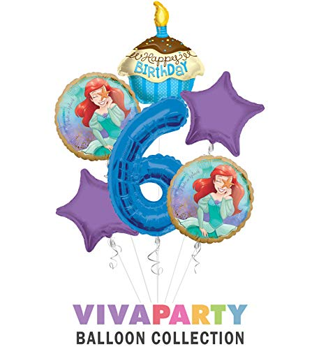 Princess Little Mermaid (Ariel) Once Upon A Time Happy Birthday Balloon Bouquet 6 pc, 6th Birthday, | Viva Party Balloon Collection