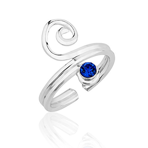 - Chuvora 925 Sterling Silver Deep Blue Crystal Glass Accent Stone Modern Swirl Toe Open Ended Band Ring