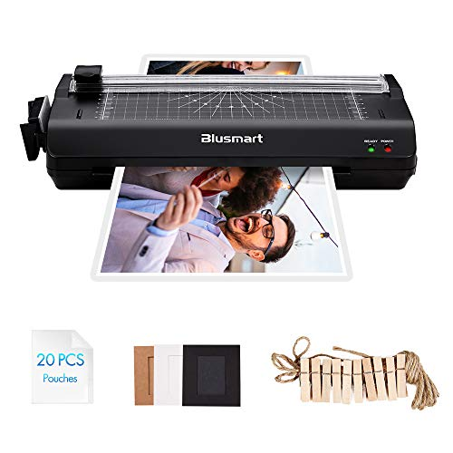5 in 1 Blusmart Laminator Set, A4, Trimmer/Corner Rounder/20 Laminating Pouches/Photo Frames, Black ()