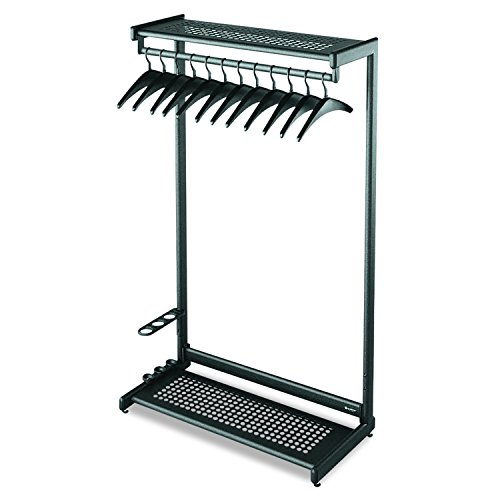 Quartet Two-Shelf Garment Rack, Freestanding, 48 Inch, Black, 12 Hangers Included - Clothes Costumer Racks Modern