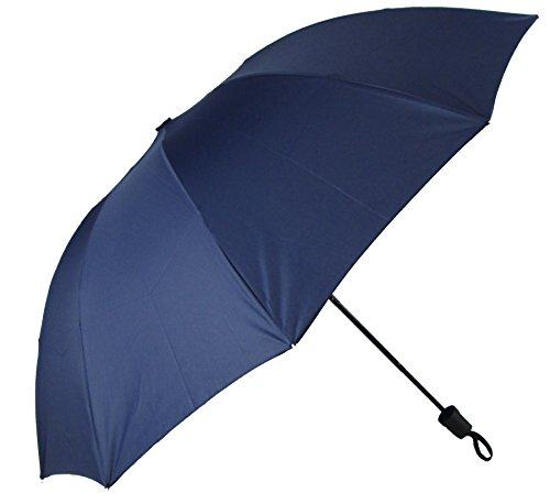 Classic Manual Umbrella (3 Fold 10 Panels Manual Umbrella with 50-inch Canopy Coverage and Attached Carrying Strap , Suitable for 2 People (navy blue))