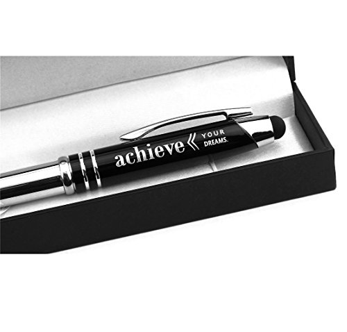 """Achieve Your Dreams"" Engraved Gift Pen w/ LED Light & Stylus Tip - Achievement Appreciation Graduation Business Gifts"