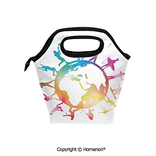 (Insulated Neoprene Soft Lunch Bag Tote Handbag lunchbox,3d prited with Golf Football Baseball Archery Basketball Players On Globe,For School work Office Kids Lunch Box & Food Container)