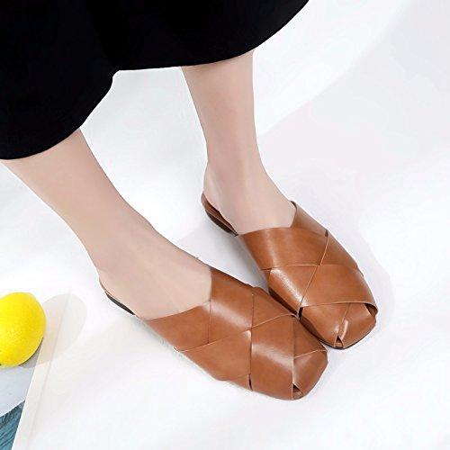 de pantoufles Baotou exposés à plat Non minimaliste Brown la fond XIAOGEGE l'été chaussons moitié cool femme chaussures FTZxHwc