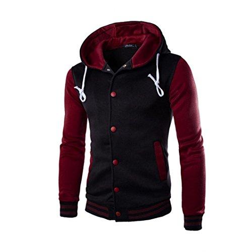 Price comparison product image Warm Hoodie Coat,Hemlock Men Winter Slim Jacket Button Outwear Hooded Sweatshirt (L, Wine)
