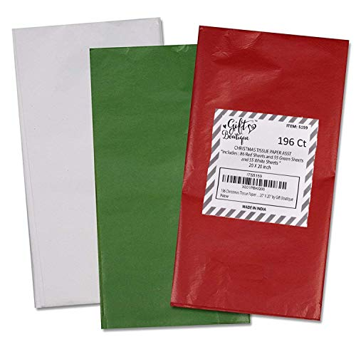 """196 Christmas Tissue Paper Bulk Holiday Wrapping Sheets 20"""" x 20"""" Red Green and White Assorted 86 Red, 55 Green and 55 White Sheet"""