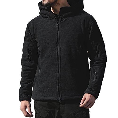 Heavyweight Tactical Hood (PrettyChic Men's Fleece Hoodie Jacket Full Zip Military Tactical Fleece Jackets, Black, XX-Large)