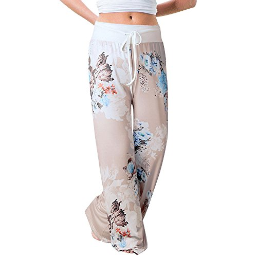 Sunmoot Clearance Sale Pajama Pants for Womens Print Wide Leg Pants Stretch Drawstring Palazzo Casual Loose Trousers]()