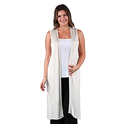 24seven Comfort Apparel Plus Size Sleeveless Long Vest Knee Length Cardigan - Made in USA - (Sizes S-1XL) Machine Washable at Women's Clothing store
