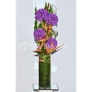 Artificial Orange Bird of Paradise and Purple Silk Allium Vase Arrangement w/Calla Lilies and Foliage