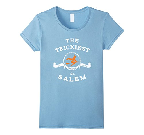 Womens Plus Size Salem Witch Costumes (Womens The Trickiest Witch In Salem Halloween T-Shirt Funny XL Baby Blue)