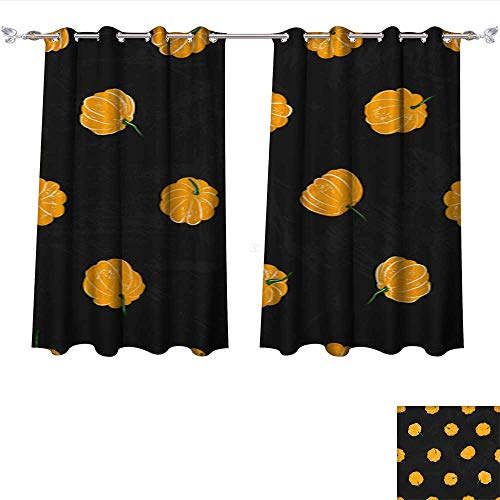 Kichler Drapes (Drapes for Living Room Cartoon Pumpkins Seamless Pattern Pumpkin from Different Sides Background for Fall Wallpaper Fabric Tie Up Printed Blackout Curtain W63 x L45/Pair)