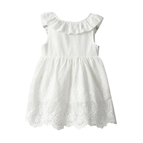 G-real Toddler Baby Girls Solid Ruffle Bow Princess Tutu Sundress White Party Wedding Dress for 2-8T (White, 5T) (Infant Girls Sundress)