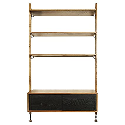 Amazon Com Kathy Kuo Home Peyton Modern Honey Oak Black Shelving