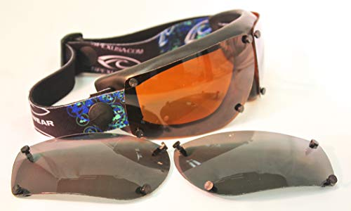 Spex Amphibian Eyewear Black Multipack with All WEATHER and GREY Polarized Lenses. Kitesurf, Jetski, Water Sport Goggles