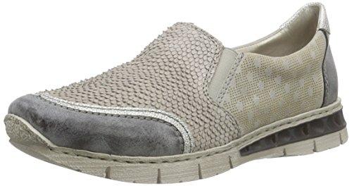 Rieker M2855 Women Loafers, Damen Slipper, Grau (asphalt/white-silver/quarz/grey/45), 40 EU