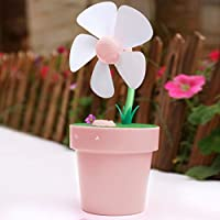 LIWUYOU Summer FlowerPot USB Quiet Mini Small Fan Creative Air Humidifier Fans for Office Home Color Pink