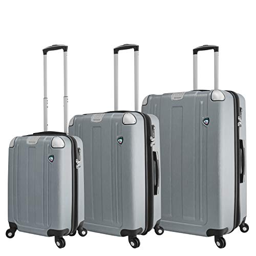 Mia Toro Italy Accera Hardside Spinner Carry-on,Aluminum