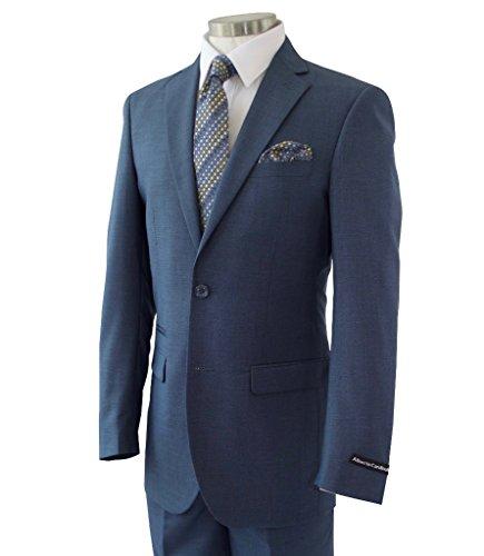 Alberto Cardinali Men's Sharkskin 2 Button Slim-Fit Suit w/ Ticket Pocket [Color: Medium Blue | Size: 48 Regular / 42 (Blue 2 Button Suit)