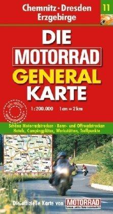 Motorrad Generalkarte Deutschland Chemnitz, Dresden, Erzgebirge 1:200 000