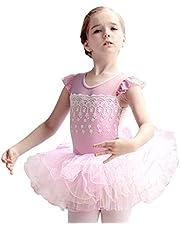 OBEEII Toddler Kid Girls Flower Applique Ballet Tutu Dress Fly Sleeve Skirted Leotard Dancewear Ballerina Princess Costume
